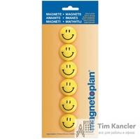 Набор мaгнитов MAGNETOPLAN Смайл, для доски, 30 мм, 6 шт., желтые