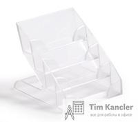 Диспенсер для визиток DURABLE настольный, пластиковый, 4 отделения, на 240 штук
