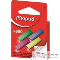 Скобы MAPED цветные, №26/6, 800 шт.