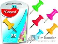 Кнопки-втулки MAPED цветные, силовые, 25 шт.