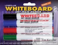 Набор маркеров LINE PLUS 4WBM-600B, для белой  доски, 4 цвета, 3 мм