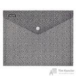 Папка-конверт Attache Confidence на кнопке А4 черная/белая 0.18мм