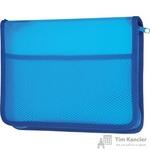 Папка на молнии Комус с внутренним карманом А5+ синяя 0.5 мм