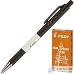 Ручка шариковая масляная автоматическая Pilot BPRK-10M черная (толщина линии 0.32 мм)