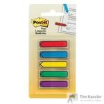 Клейкие закладки Post-it пластиковые 5 цветов по 20 листов в форме стрелки 11.9x43.2 мм в диспенсере