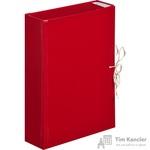 Папка архивная Attache А4 из бумвинила красная 80 мм (складная, 4 х/б завязки, до 600 листов)