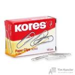 Скрепки Kores металлические никелированные 33 мм (100 штук в упаковке)