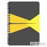 Бизнес-тетрадь Leitz Office Card А5 90 листов серая с желтым в клетку съемная линейка-закладка на спирали (164х210 мм)