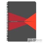 Бизнес-тетрадь Leitz Office Card А5 90 листов красная с серым в клетку съемная линейка-закладка на спирали (164х210 мм)