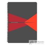Бизнес-тетрадь Leitz Office А4 90 листов красная с серым в клетку съемная линейка-закладка на спирали (225х297 мм)
