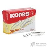 Скрепки Kores металлические никелированные 25 мм (100 штук в упаковке)