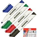 Набор маркеров для досок Kores 20843 4 цвета (толщина линии 3 мм)
