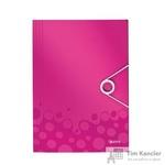 Папка-короб на резинках Leitz Wow А4 пластиковая розовая (0.7 мм, до 150 листов)