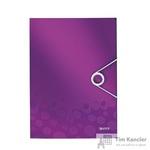 Папка-короб на резинках Leitz Wow А4 пластиковая лиловая (0.7 мм, до 150 листов)