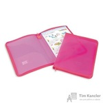 Папка-конверт Attache на молнии А4 розовая 0.5 мм