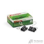 Зажимы для бумаг Комус 19 мм черные (12 штук в упаковке)