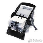 Картотека Комус на 400 визиток вращающаяся черная
