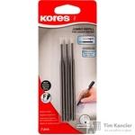 Стержень шариковый Kores K6 черный 98 мм (толщина линии 0.5 мм, 3 штуки в упаковке)