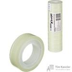 Клейкая лента канцелярская Комус прозрачная 12 мм х 10 м (12 штук в упаковке)