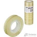 Клейкая лента канцелярская Комус прозрачная 12 мм х 33 м (12 штук в упаковке)