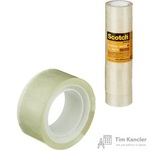 Клейкая лента канцелярская Scotch прозрачная 19 мм х 10 м (8 штук в упаковке)