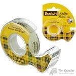 Клейкая лента канцелярская Scotch прозрачная двухсторонняя 12 мм x 6.3 м (с диспенсером)