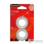 Клейкая лента канцелярская Scotch Crystal прозрачная 19 мм х 7.5 м (2 штуки в упаковке)