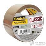 Клейкая лента упаковочная Scotch Classic Hot Melt коричневая 50 мм x 50 м толщина 42 мкм (суперклейкая)