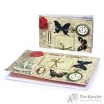 Комплект Eshemoda Платьице с бабочкой (обложка на паспорт + визитница) из натуральной кожи цветной (56103000)