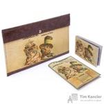 Комплект Eshemoda Ретро Коты (конверт для путешествий + обложка + визитница) из натуральной кожи коричневого цвета (55110006)