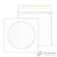 Конверт для CD Packpost 125x125 мм белый с клеем круглое окно 100 мм (25 штук в упаковке)