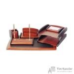 Набор настольный деревянный 6 предметов красное дерево/черный