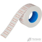 Этикет-лента прямоугольная белая с красной полосой 21.5х12 мм (10 рулонов по 1000 этикеток)