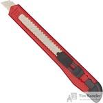 Нож канцелярский 9 мм с фиксатором красный