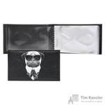 Визитница карманная Eshemoda Man in black на 16 визиток из натуральной кожи черного цвета (4240000)