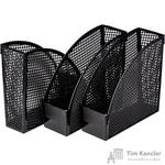 Вертикальный накопитель Attache Эконом пластиковый черный ширина 110 мм (3 штуки в упаковке)