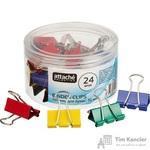Зажимы для бумаг Attache Selection 32 мм цветные (24 штук в упаковке)