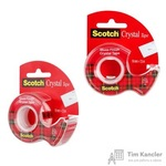 Клейкая лента канцелярская Scotch Crystal прозрачная 19 мм х 7.5 м (с диспенсером)