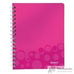 Блокнот Leitz Wow А5 80 листов розовый в клетку на спирали (181x215 мм)