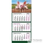 Календарь настенный трехблочный на 2019 год Символ года Три Поросенка (305х675 мм)