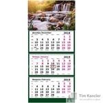 Календарь настенный трехблочный на 2019 год Лесной Водопад (305х675 мм)