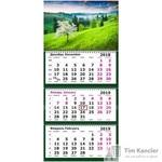 Календарь настенный трехблочный на 2019 год Цветущее Дерево (330х710 мм)
