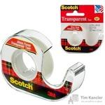 Клейкая лента канцелярская Scotch прозрачная 12.7 мм х 7.62 м (с диспенсером)