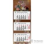 Календарь настенный трехблочный на 2019 год Цветы (340x840 мм)