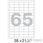 Этикетки самоклеящиеся Office Label белые 38х21.2 мм (65 штук на листе А4, 100 листов в упаковке)