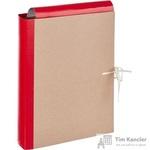 Папка архивная Attache А4 из крафт-бумаги/бумвинила красная 50 мм (складная, 4 х/б завязки, до 350 листов)