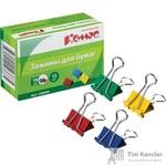 Зажимы для бумаг Комус 19 мм цветные (12 штук в упаковке)