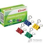 Зажимы для бумаг Комус 25 мм цветные (12 штук в упаковке)