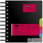 Блокнот Attache Selection Office book A6 200 листов черный в клетку 5 разделителей на спирали (141х141 мм)
