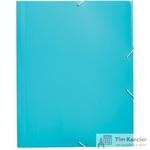 Папка на резинках Комус А4 пластиковая голубая (0.45 мм, до 300 листов)